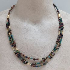 Multi-strand necklace with Egyptian faience-beads - approx. 52 cm