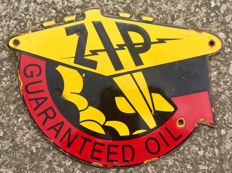 ' ZIP GUARANTEED OIL ' Enamel Advertising Sign