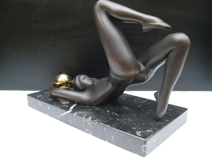 Unknown artist, reclining lady with gold-coloured ball.