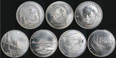 Portugal – Complete Collection of 500 Escudos Coins in 500 SILVER, average finish – 1995 to 2001 – Portuguese Republic – AG: 144.01 to 150.01 – Uncirculated – FDC – Exceptional Collection