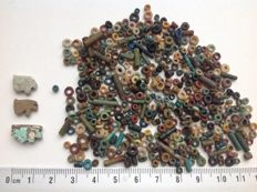 "More than 400 ""mummy beads"" and 3 ""eye of Horus"" amulets, faience"