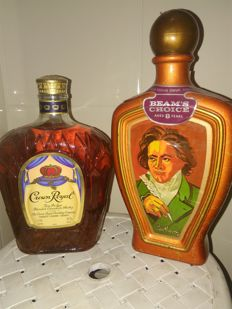 2 bottles - Beams 8 decanter & Crown Royal 1 litre
