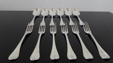 6 silver table sets of forks and spoons, the Netherlands, Roelof Helweg 1821
