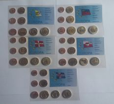 Europe - Lot of 5 euro blister packs 'Probe' 2004/2006.
