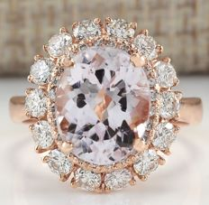 5.66 Carat Natural Morganite And Diamond Ring In 14K Solid Rose Gold Ring Size: 7 *** Free Shipping *** No Reserve *** Free Resizing ***