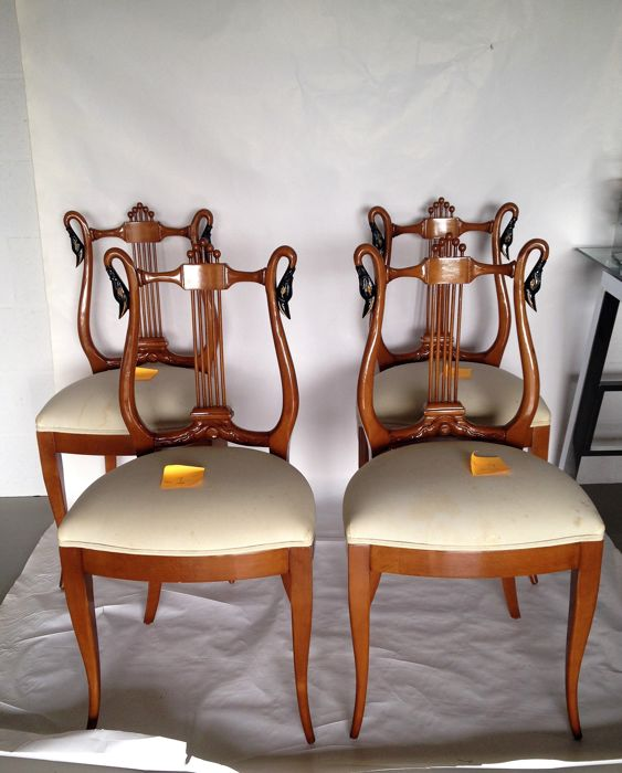 Four Biedermeier style chairs, Spain, circa 1997