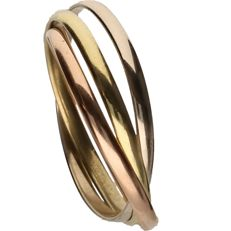 18k - Tricolour yellow/white/rosé gold ring, comprising of three separate rings - Ring size:  19 mm