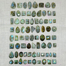 Large Faceted Labradorite lot - all color flashes - 1010 ct - (75pcs)