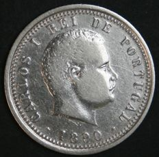Portugal – 100 Reis in SILVER – Carlos I – 1890 – Wide Edge – Lisbon – AG: 06.02