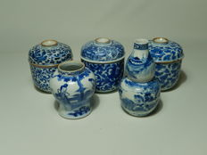 Lot with five pieces of blue-white porcelain - China - 9th century