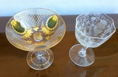 Lot of two glasses goblets, in cut crystal, etched and painted, wonderful - France 1880 - 1890 ca