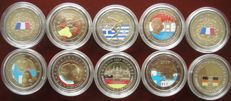 Europe - 10 different 2 Euro coins in colour - 2004-2007 - in capsules