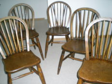6 antique oak wood Windsor stick-back chairs with tail - English - ca. 1900