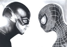 Diego Septiembre - Original Charcoal and Graphite Drawing - Spider-man and The Flash