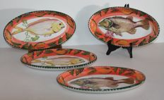Varma Ceramica - Lot of 4 Fish Plates with hand Decorated Fishes.