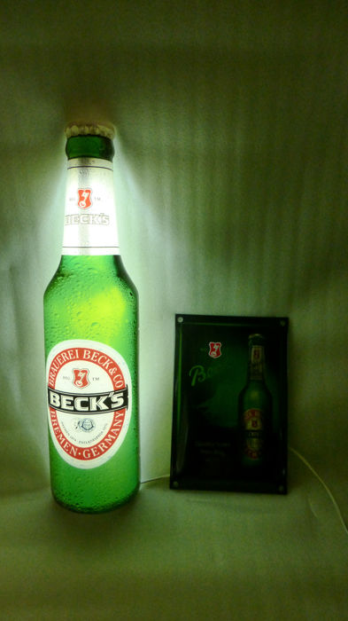 Beck's beer - bottle with lighting and enamel sign - 2nd half 20th century