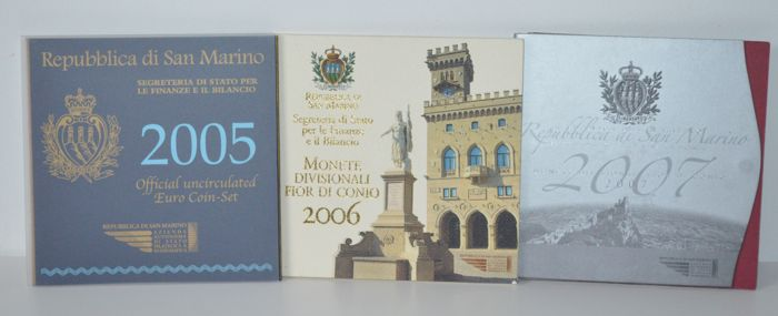 San Marina - Year pack 2005, 2006 and 2007 (3 packs)