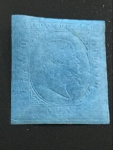 Italy, Sardinia 1853 - blue 20 cents, 'Sassone' no. 5