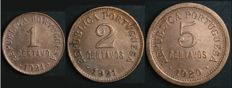 Portugal – 3 Coins – 1 e 2 Centavos 1921 + 5 Centavos 1920 – Portuguese Republic – AG: 01.06, 02.03 and 05.01 – UNC – Scarce Dates