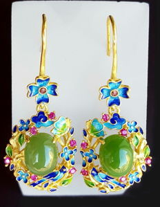 24k Gold-plated Sterling Silver enamel nephrite  earrings,approx 10 g.