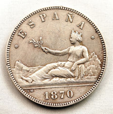 Spain – Provisional Government – Five silver 'pesetas' coin – 1870 – Madrid