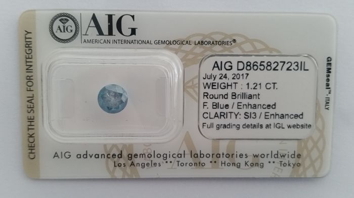 1.21ct  ROUND CUT SI3    FANCY BLUE Diamond  AIG LAB-NO RESERVE