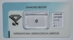 0.11 ct brilliant cut diamond, J, SI1