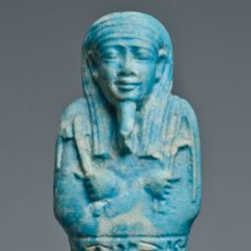 A large Egyptian Faience Ushabti for AnkhEmAmon - H. 18 cm (7 inches)