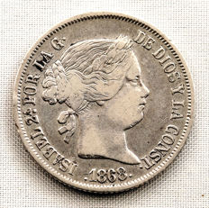 Spain - isabel II - 20 Cents of a peso in silver - 1868 - Manila