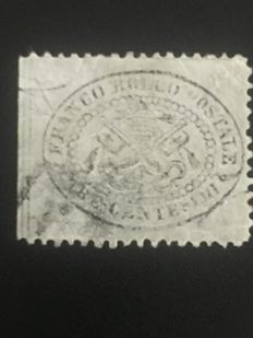Italian papal states 1868 - grey 3 cents stamp, glossy paper, 'Sassone' no. 24
