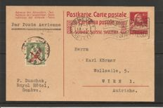 Switzerland 1919-1923 – airmail Michel 145 on postcard from Geneva to Vienna