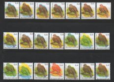 Belgium 2002 - Collared dove in 21 distinct varieties with cutting flaw and shifted colour printing - COB 3135