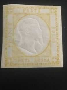 Neapolitan Provinces, 1861 – 20 grana, yellow stamp – 'Sassone' no. 23