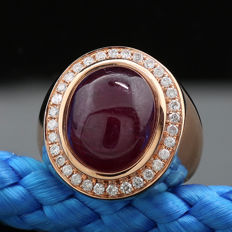 18 kt rose gold ruby and brilliant ring, 16.28 ct, of which 1 ruby of 15.79 ct, 750 rose gold