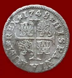Spain - Fernando VI, 1/2 silver royal, Seville 1748 (PJ Practitioner) 16mm / 1.4 g