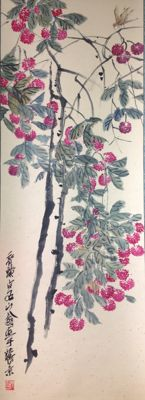 Hand painted scroll painting made after Qi Baishi - China - late 20th century