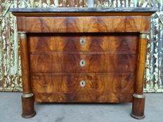 An Empire walnut chest of drawers, with St. Anne marble top - France - first quarter 19th century