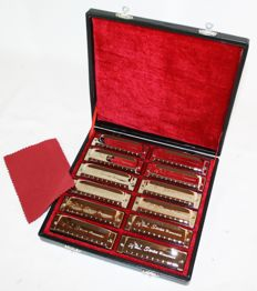 12 Blues harmonicas in case and Hohner harmonica belt for 7 harmonicas