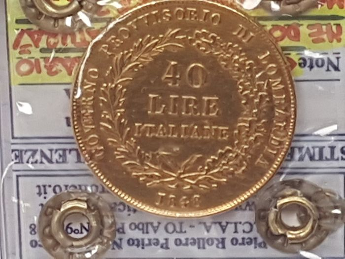 Provisional Government of Lombardy, 1848 – 40 Lire – Gold