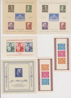 Germany, Allied Occupation Zones 1949 - 6 MNH blocks including Michel block 6 Goethe, block 12a-b Aid for the elderly