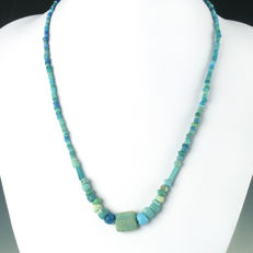 Necklace with Roman turquoise glass beads - 50 cm