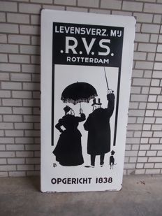Stainless steel enamel advertising sign large format, Langcat Bussum, 1950s.