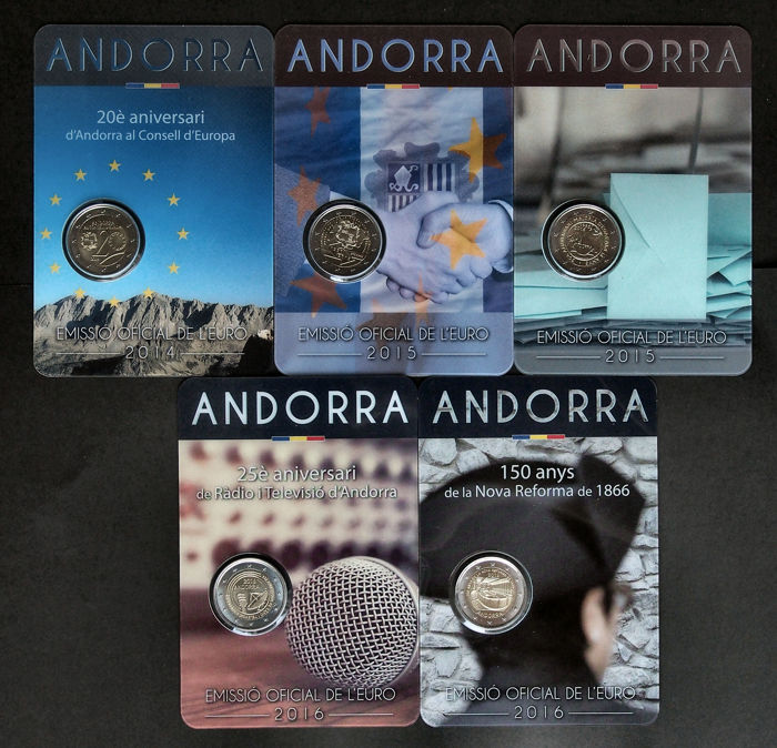 Andorra – 2 Euro Remembrance coins 2014, 2015 and 2016 (5 different ones) in maxi coin cards