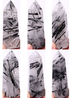 Lot of Quartz Points with black Tourmaline inclusions -  different lengths - 347 gm (6)