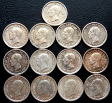 Spain - Alfonso XIII - lot of 13 50 silver cent coins from the year 1926.
