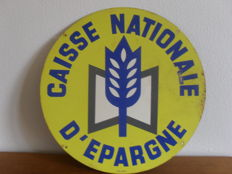 Painted sheet metal plate - caisse nationale d'épargne - 1980?