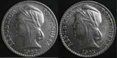 Portugal – 2 x 50 Centavos coin 1922 and 1923 – Portuguese Republic – Colony of Angola – AG: 13.01 and 13.02 – UNC