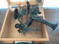 Russian sextant in wooden box - Cold war era