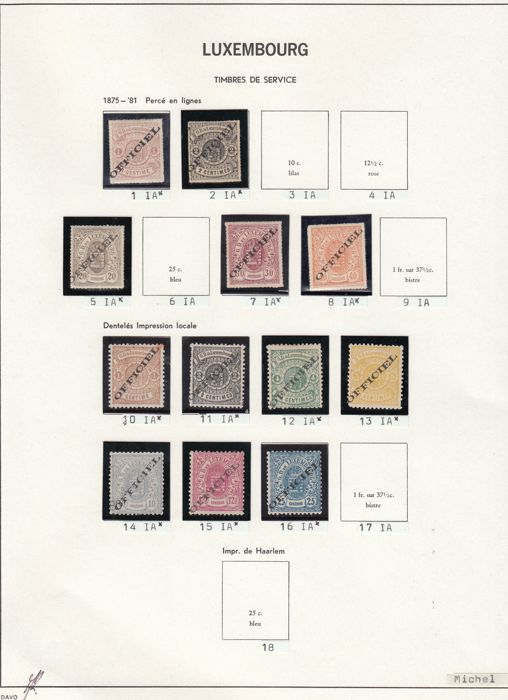 Luxembourg 1875/1881 - Selection of official stamps - Michel 1, 2, 5, 7, 8, and 10/16