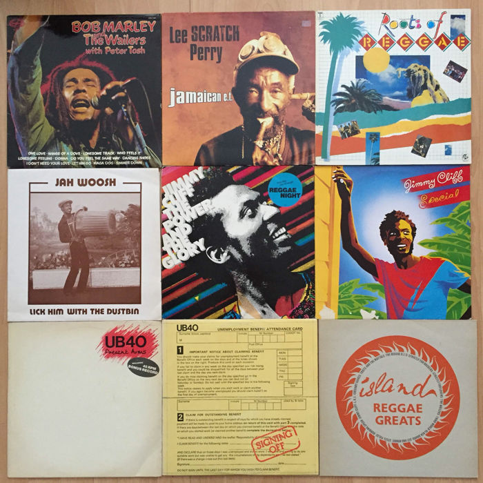 Lot of 9 Reggae albums; Bob Marley, Lee Scratch Perry, Jimmy Cliff, Jah Woosh, UB40 and others